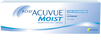 Pack of 30 lenses. 1-DAY ACUVUE® MOIST for ASTIGMATISM Contact Lenses with LACREON®  Technology and UV Blocking.