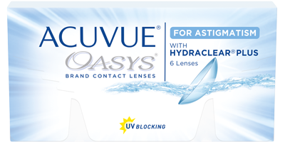 Pack of 6 re-usable lenses. ACUVUE® OASYS for ASTIGMATISM Contact Lenses with HYDRACLEAR® PLUS Technology and UV Blocking.